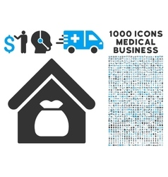 Harvest Warehouse Icon with 1000 Medical Business vector image