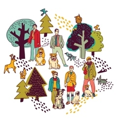 People and pets walking in park color on white vector image vector image