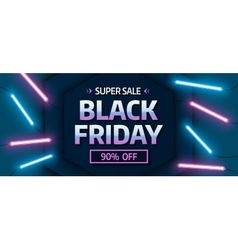 Black friday sale banner Glowing neon background vector image vector image
