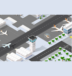 isometric 3d airport vector image