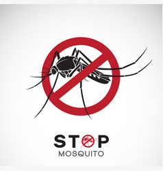 mosquito in red stop sign on white background vector image