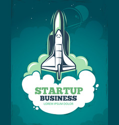 startup grunge vintage 60s poster with vector image