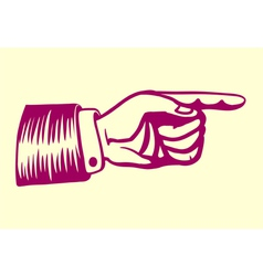 Vintage retro hand with pointing finger vector image vector image