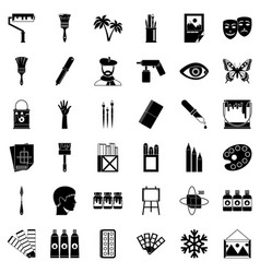 art college icons set simple style vector image vector image