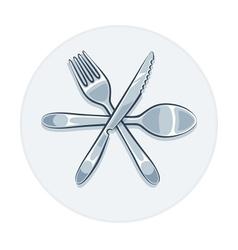 Kitchen utensils fork knife vector image vector image