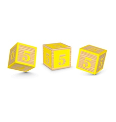 Number 5 wooden alphabet blocks vector