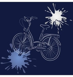 Outline of bicycle with watercolor blots vector image vector image
