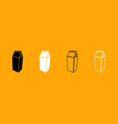 package for milk black and white set icon vector image
