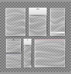 plastic pocket bags set blank vacuum vector image vector image