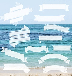 Ribbon Set With Sea vector image