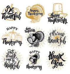 Set of happy thanksgiving badges turkey pumpkin vector