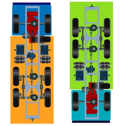 truck suspension top view vector image vector image