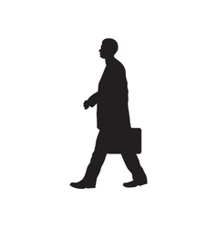 Black silhouette of the person with a briefcase vector image vector image