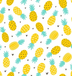 Pineapple and hearts seamless pattern vector image vector image