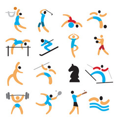 set of simple sport icons vector image