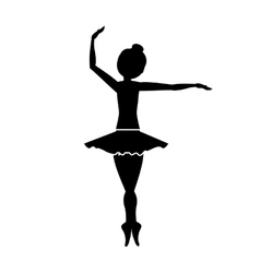 silhouette with dancer pirouette fourth position vector image