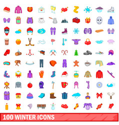 100 winter icons set cartoon style vector
