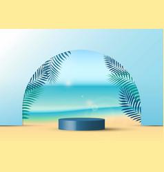 3d realistic blue color geometric platform round vector image