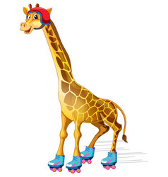 A giraffe ice skating vector