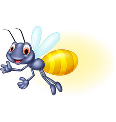 Adorable cartoon firefly waving vector