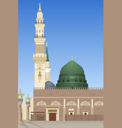 Al-masjid an-nabawi mosque in medina vector