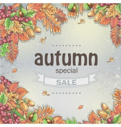 Background of a big autumn sale with the image of vector