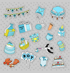 bashower boy stickers badges patches vector image