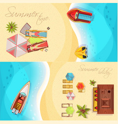 Beach holiday horizontal banners top view vector