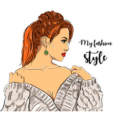 Beautiful young women in fashion clothes detailed vector