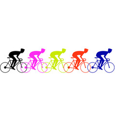 bicycle race peoples colorful vector image