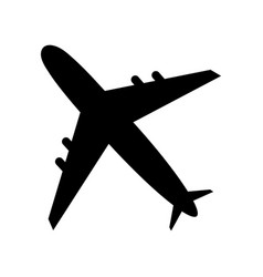 black airplane icon isolated on white background vector image