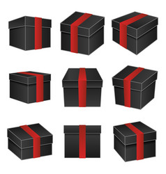 black paper cardboard package boxes isometric pack vector image
