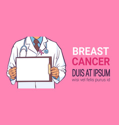 Breast cancer day male doctor holding empty clip vector