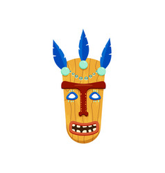 brightly coloured african mask with screaming wide vector image
