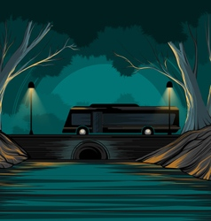 Bus and park vector