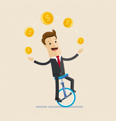 businessman juggling coin while cycling vector image