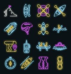 canoeing icons set neon vector image