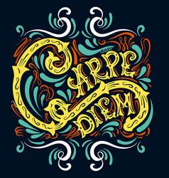 Carpe diem typographical background with unique vector
