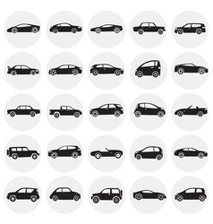 Cars collection set on circles background for vector