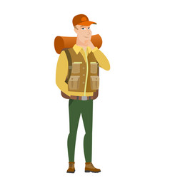 Caucasian traveler thinking vector