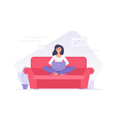 cheerful flat woman character with laptop on sofa vector image