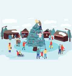 Christmas market winter holiday in park families vector