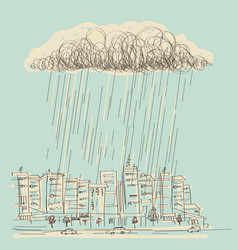 cityscape with rain hand drawn dark cloud in wet vector image