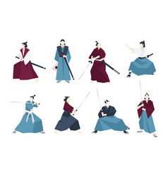 Collection samurai standing in different vector