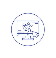Computer bug virus line icon vector