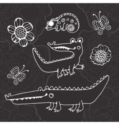 Cute collection of hand draw crocodiles vector image