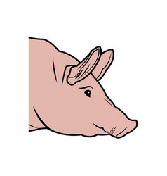 cute pig head cartoon animal farm image vector image