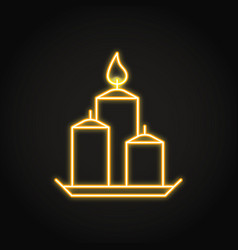 decorative candles on a plate icon in neon line vector image