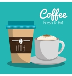 Delicious coffee always fresh poster vector