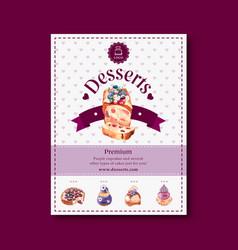 Dessert poster design with fruit cake berry vector